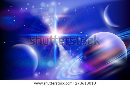 Magic Space - planets, stars and constellations, nebulae and galaxies, lights. Vector illustration / Eps10 - stock vector