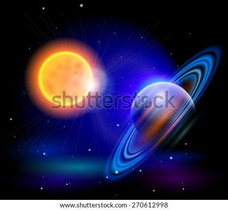 Magic Space - the Sun and planet, stars and constellations, nebulae and galaxies, lights. Vector illustration / Eps10 - stock vector
