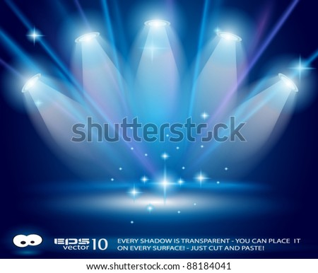 Magic Spotlights with Blue rays and glowing effect for people or product advertising. Every lights and shadow are transparent. - stock vector