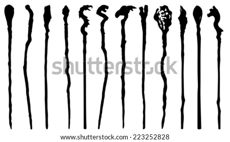magic staff silhouettes on the white background - stock vector