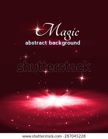 Magic stage background with smoke and stars. Vector illustration - stock vector