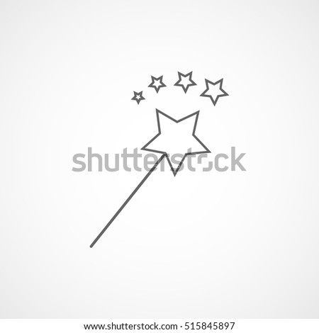Magic Stick Christmas New Year Line Icon On White Background