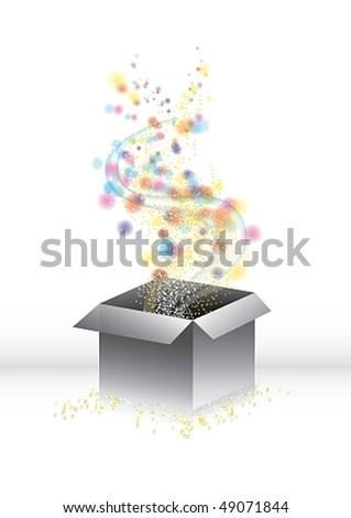 Magic surprise gift-box with blurry lights and tiny stars, vector illustration - stock vector