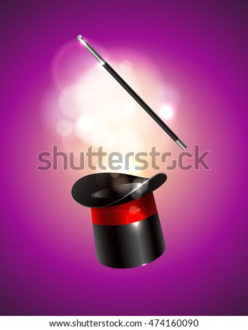 Magic vector background. Vector illustration. Magic cylinder hat and wand with magical glow.