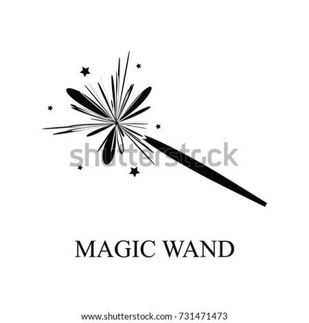 Magic Wand Vector Icon Black Magic Stock Vector 731471473 Shutterstock