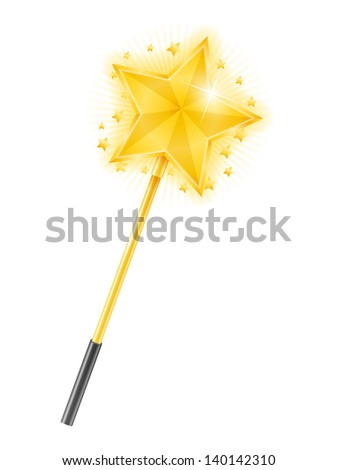 Magic wand with golden star on white background, vector eps10 illustration