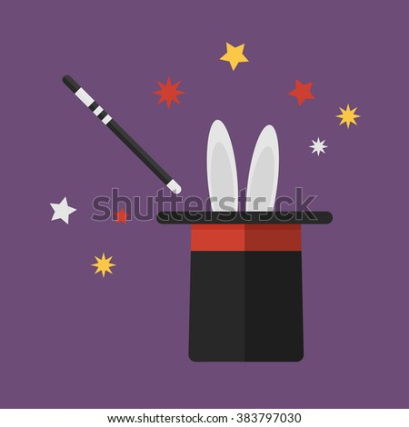 magic wand with rabbit in hat In flat design