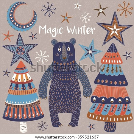 Magic winter, invitation card with bear and Christmas trees.