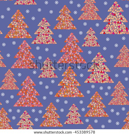 Magic winter seamless pattern of colorful mosaic fir trees and snowflakes. Simple geometric Happy New Year and Christmas design. Northern wood vector illustration on blue background. - stock vector