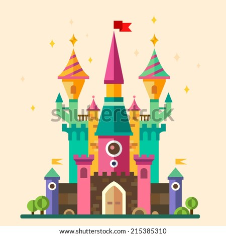 Magical fabulous cartoon castle. Vector flat illustrations - stock vector