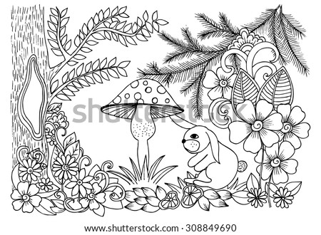 Magical forest in black and white. Doodle floral image for coloring book - stock vector