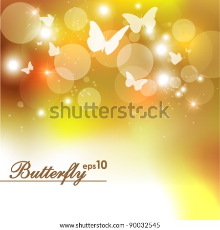 magical golden butterfly vector background