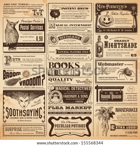 magical newspaper page with classifieds - perfect for Halloween - stock vector