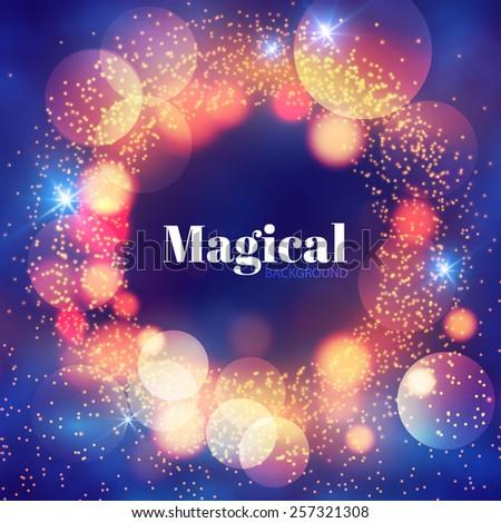 Magical shining circle frame. Vector illustration - stock vector