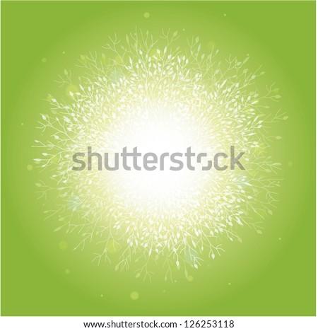 Magical spring trees sunburst background - stock vector