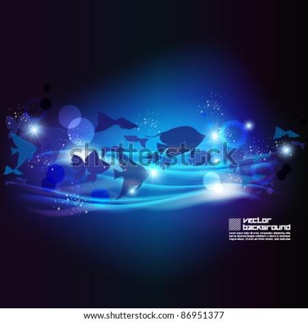 magical underwater vector background design - stock vector