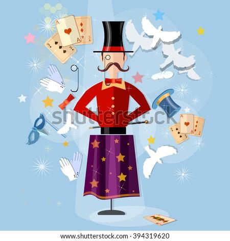 Magician circus shows tricks focuses vector illustration - stock vector