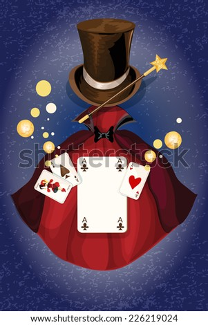 Magician decorative colored background with cylinder wand and cape vector illustration - stock vector