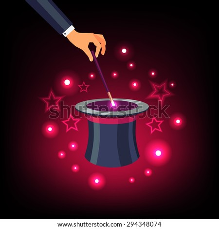 Magician hand holding a magic wand and waving it over a magical top hat with star sparkles. Flat vector isolated illustration and background.