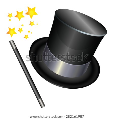 Magician hat  and a magic wand on white background. Vector