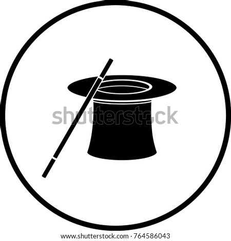 magician hat and wand symbol