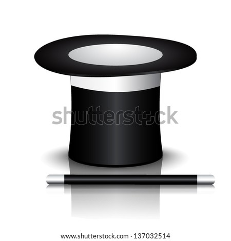 Magician Hat with Magician Wand, icon isolated on white - stock vector