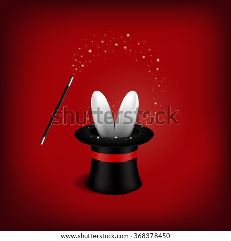 Magician Hat with Magician Wand.Vector illustration . - stock vector