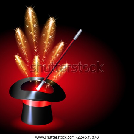 Magician hat with sparkle fireworks on red background - stock vector