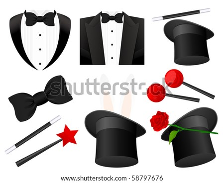 Magician icons,  vector illustration - stock vector