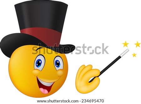 magician in top hat with magic wand showing trick - stock vector