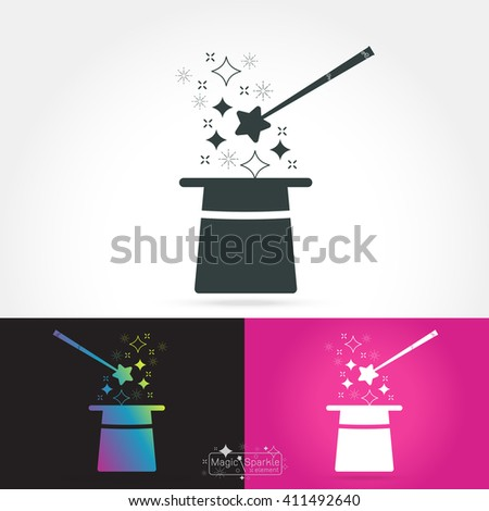 Magician isolate icon with hat, magic sparkle ,on white background Vector illustration - stock vector