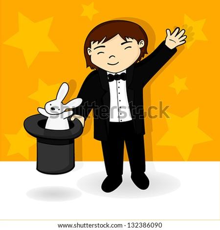 Magician Kid Vector Illustration - stock vector