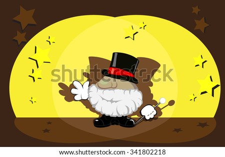 magician on stage. vector illustration - stock vector