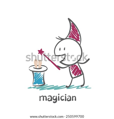magician pulls a rabbit out of the cylinder illustration - stock vector