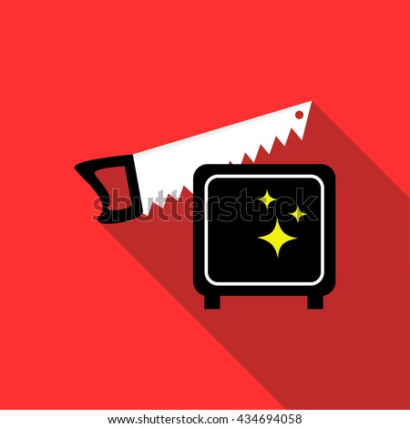 Magician sawing box icon, flat style - stock vector
