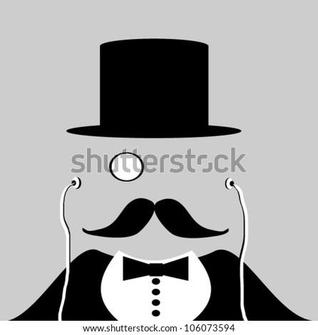 magician wearing monocle and earphones - stock vector