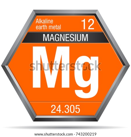 Magnesium Symbol Form Hexagon Metallic Frame Stock Vector 743200219