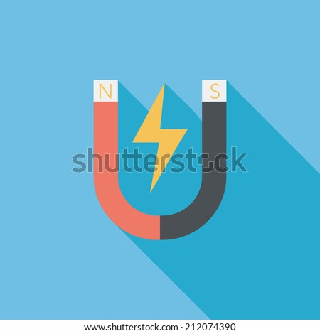 Magnet flat icon with long shadow,eps10 - stock vector