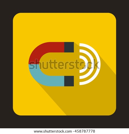 Magnet icon in flat style on a yellow background - stock vector