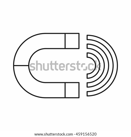 Magnet icon in outline style on a white background - stock vector