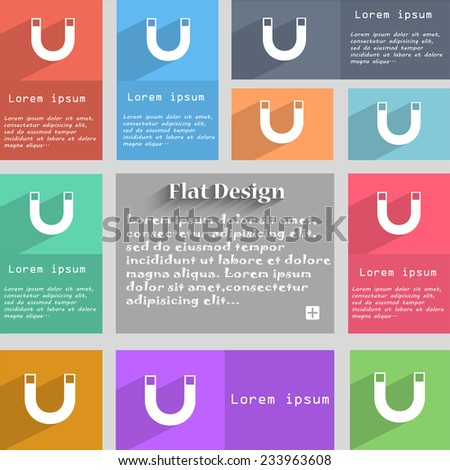 magnet sign icon. horseshoe it symbol. Repair sign. Set of colored buttons Vector illustration - stock vector
