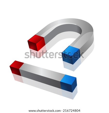 magnets of two kinds on a white background  - stock vector
