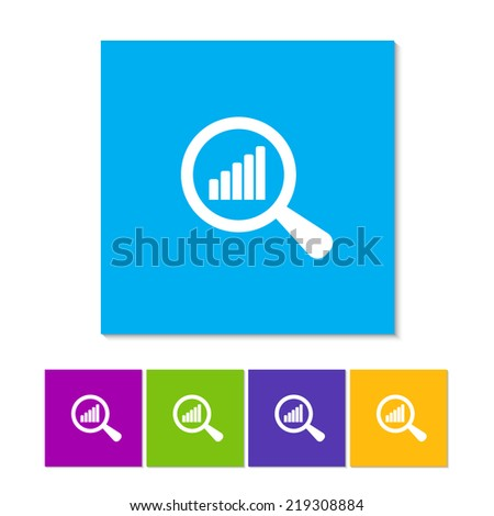 Magnified Chart. Flat icon design. Orange, purple, magenta, violet, yellow, green and blue color buttons - stock vector