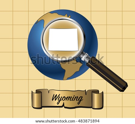 Magnified Wyoming State Map on Globe Vector Illustration