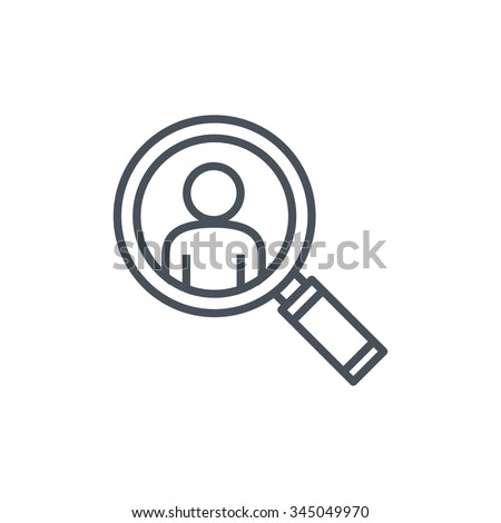 Magnifier and man icon suitable for info graphics, websites and print media. Colorful vector, flat icon, clip art. - stock vector