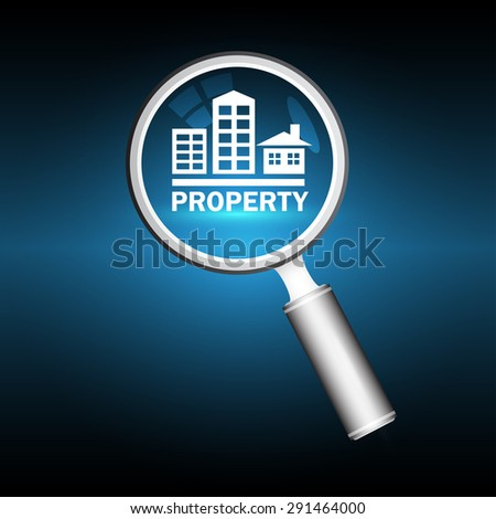 Magnifier and property sign with dark blue background. - stock vector