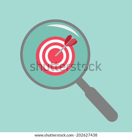 Magnifier and target. Flat design style.Vector illustration.