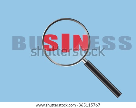Magnifier Concept with Business word, Vector Illustration EPS 10.