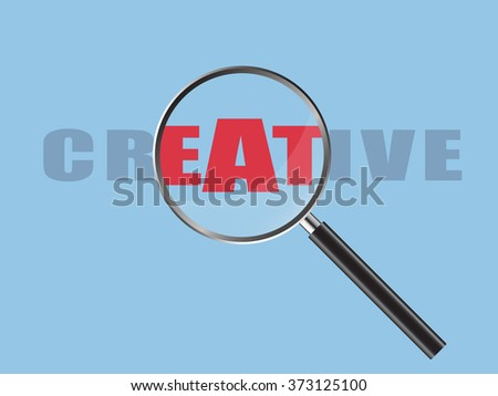 Magnifier Concept with Creative word, Vector Illustration EPS 10.