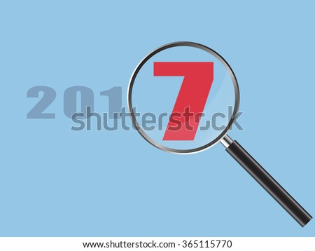 Magnifier Concept with New Year 2017 word, Vector Illustration EPS 10. - stock vector